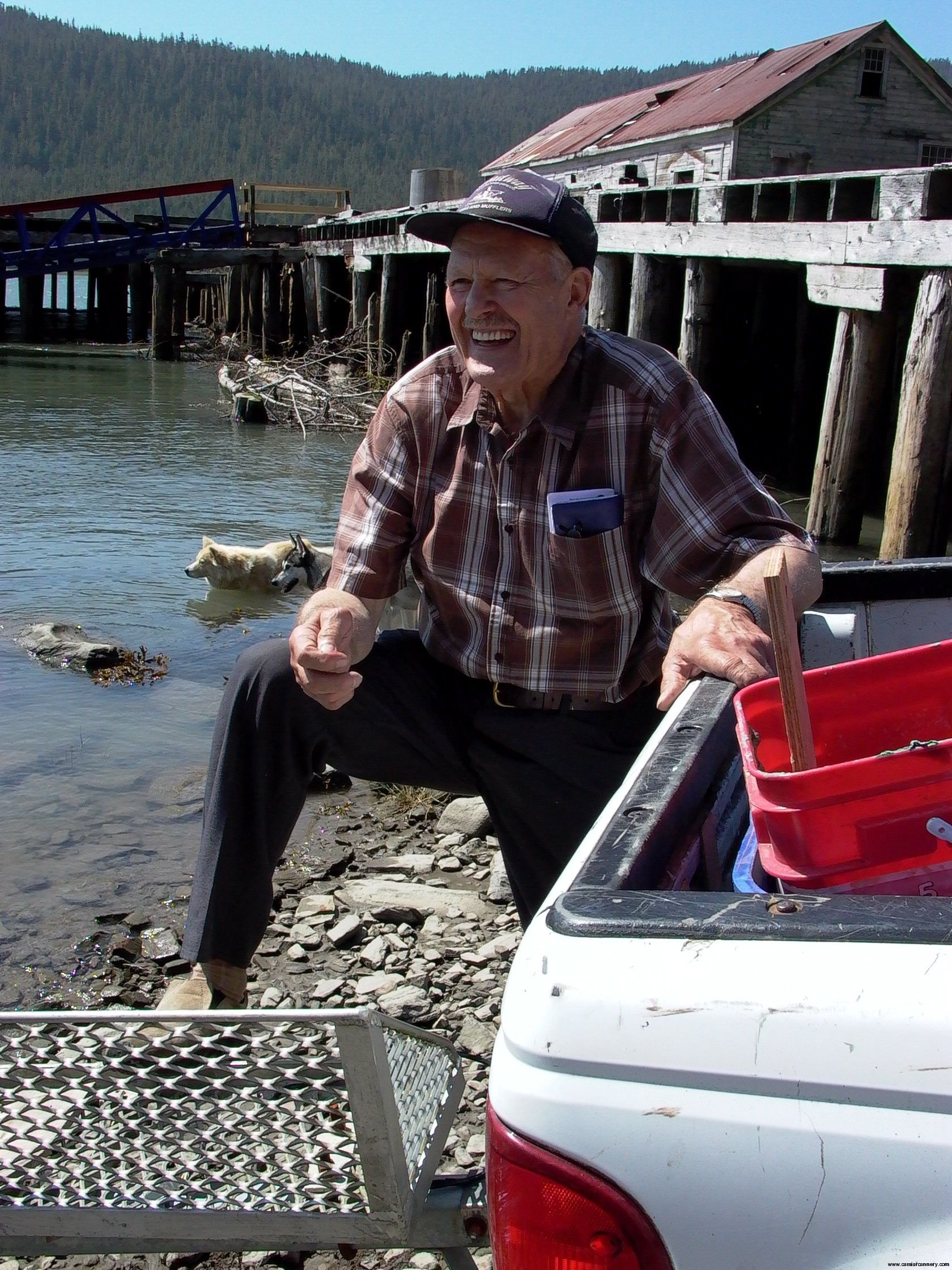 Cassiar Cannery: Karl Olafson, Osland and Prince Rupert, outstanding and active fisherman, owner of pet eagle 'Beaky'.