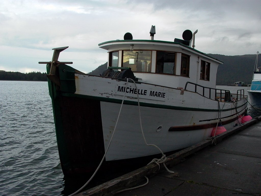 Cassiar Cannery - Poseidon Marine - Michelle Marie - boat with the mast and rigging down