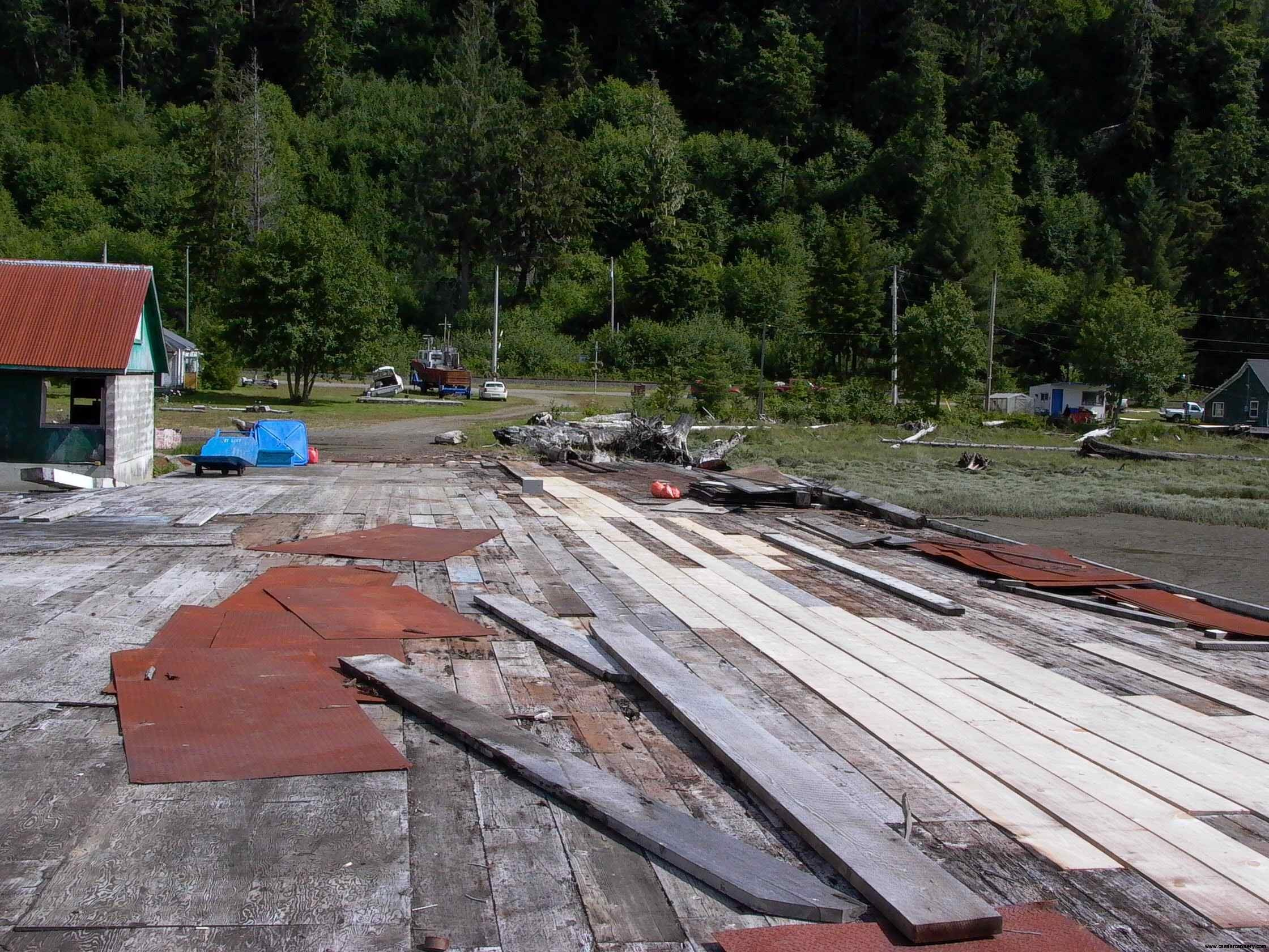 Cassiar Cannery: first new planks on the docks in decades