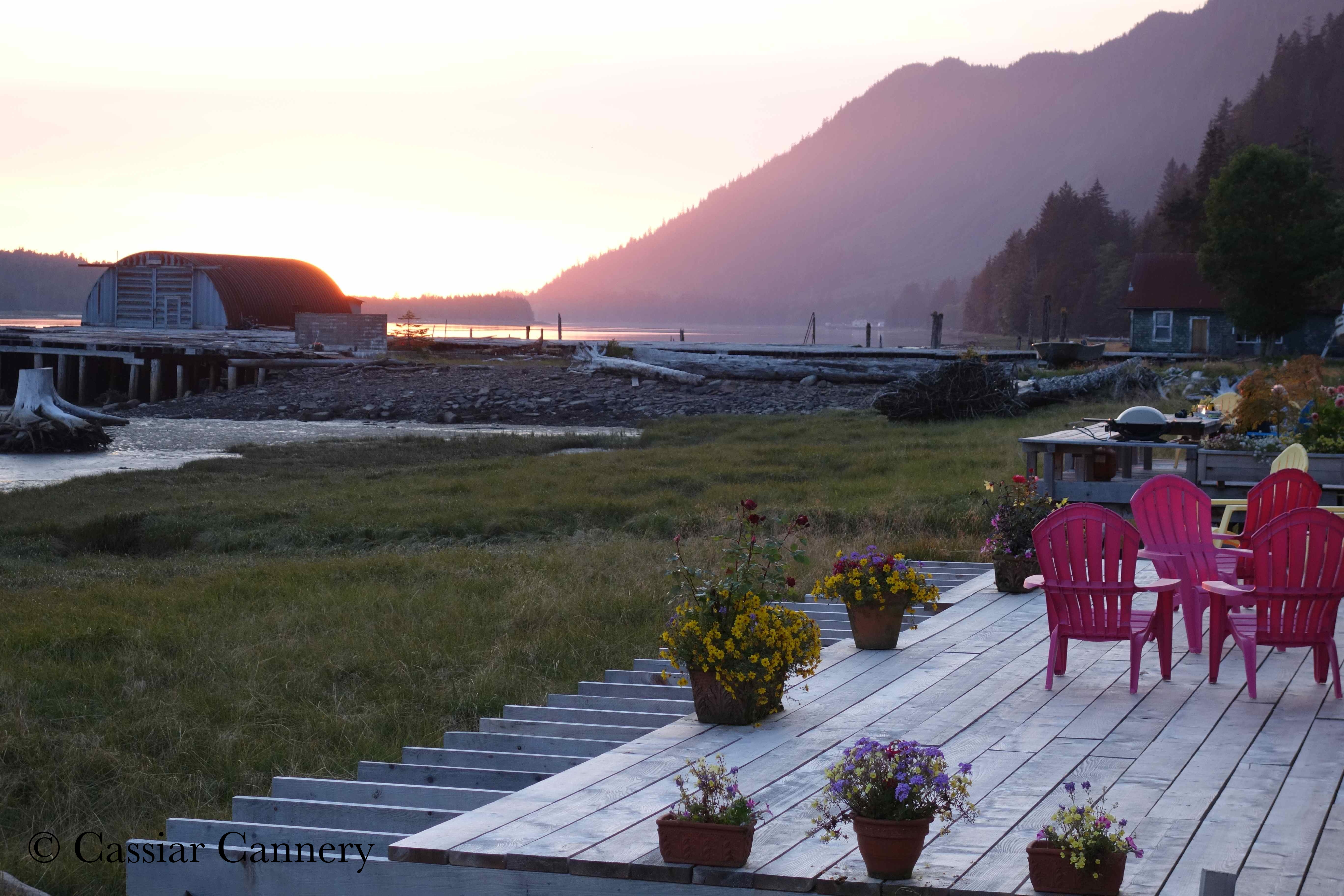 Cassiar Cannery - beautiful sunset from the deck