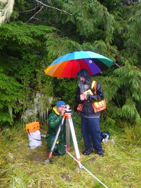 Cassiar Cannery - surveying the elevation changes between the tree line and the mud flats