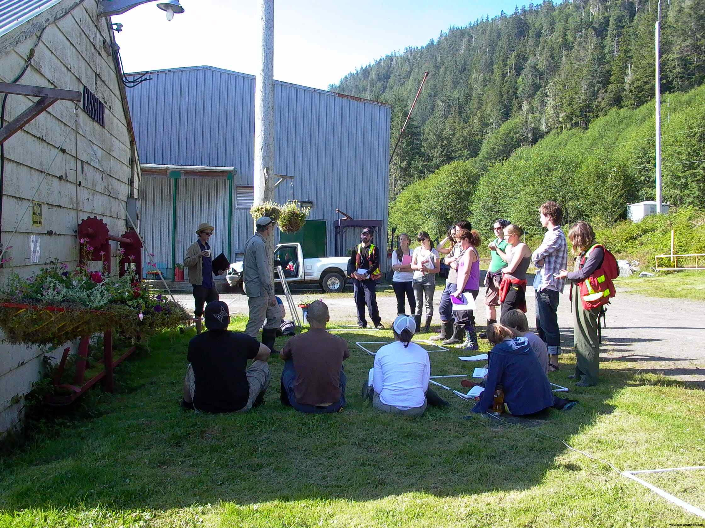 Cassiar Cannery - group meeting with the students prior to heading out to the sample site