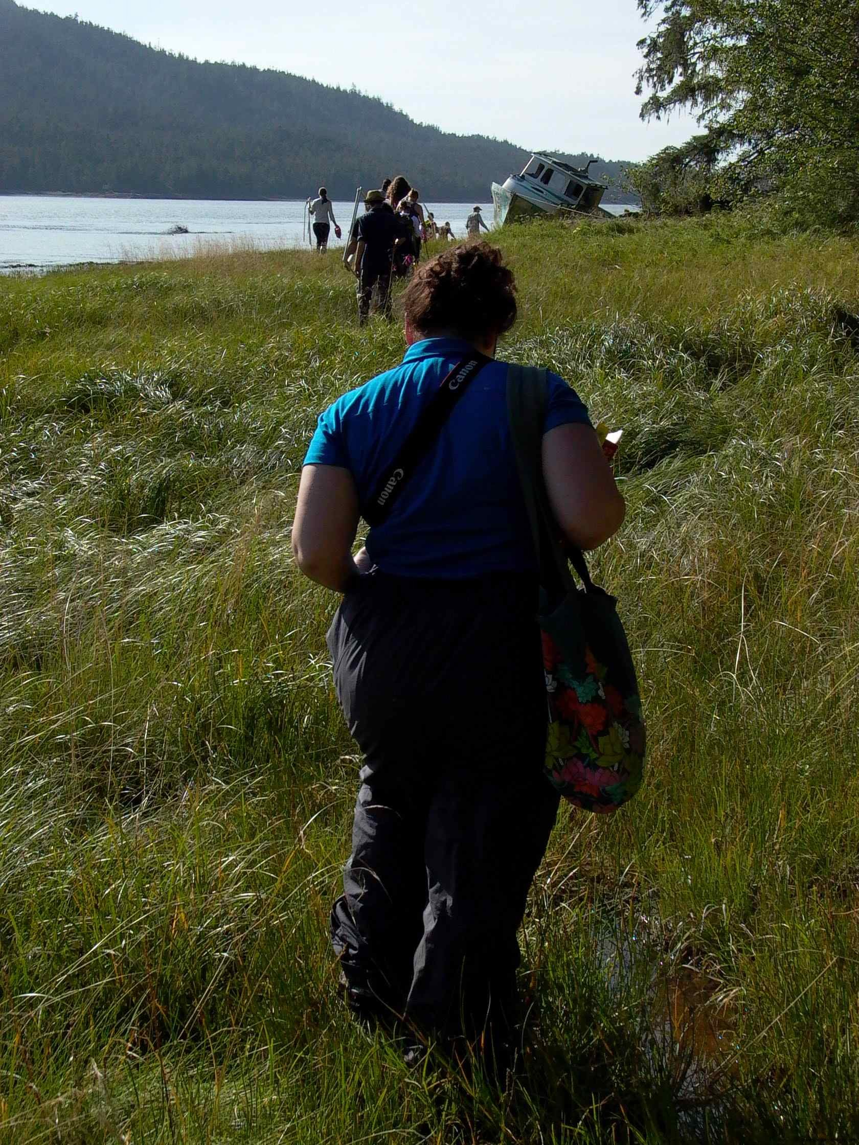 Cassiar Cannery - trekking along the foreshore to the sample sites