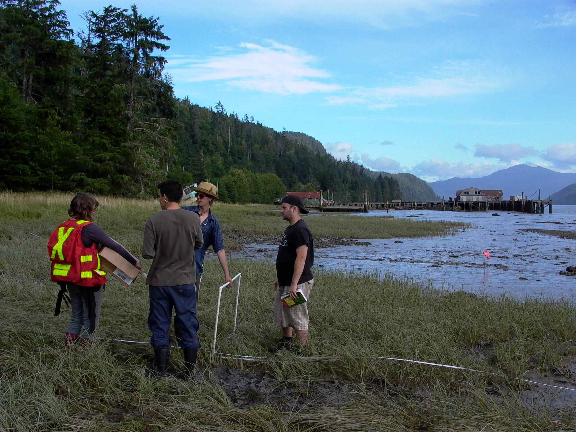 Cassiar Cannery - the students broke into groups of three or four