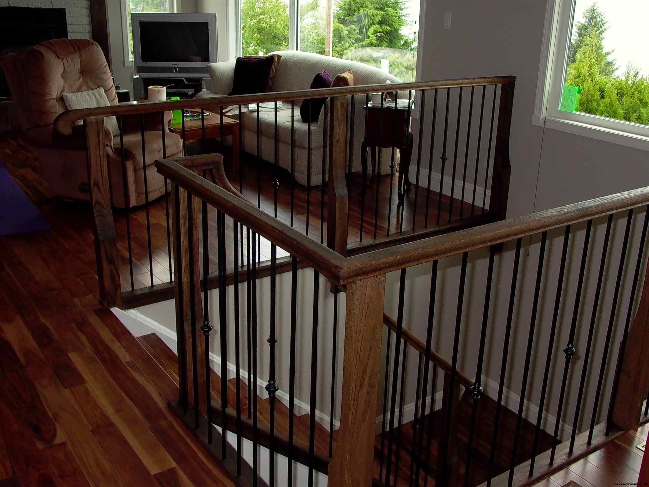 Cassiar Cannery - custom install of an oak and iron staircase railing