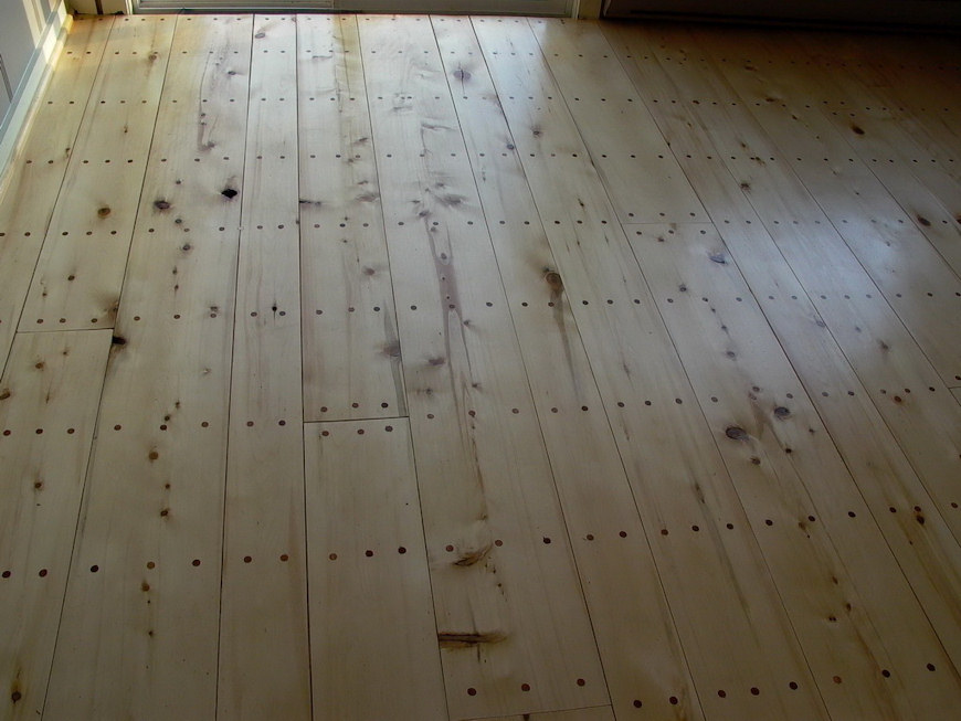 Cassiar Cannery - new yellow cedar flooring in one of Cassiar's Guest House