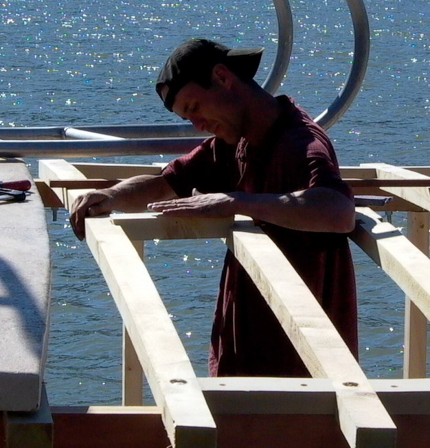 Cassiar Cannery - using the wood to frame a cabin extension on the Eros